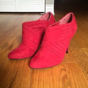 Red Suede High Heels, Wrap-Top Low Ankle Booties
